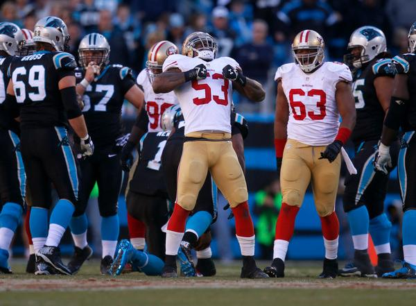 San Francisco 49ers' NaVorro Bowman (53) celebrates his sack against Carolina Panthers starting quarterback Cam Newton (1) in the third quarter of their NFC divisional playoff NFL game at Bank of America Stadium in Charlotte, N.C. on Sunday, Jan. 12, 2014. (Nhat V. Meyer/Bay Area News Group)