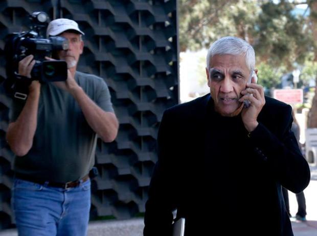 Venture capitalist Vinod Khosla arrives at San Mateo County Superior Courthouse Monday afternoon May 12, 2014, in Redwood City, Calif. Khosla was called to testify about his refusal to open public access to a stretch of beach along the San Mateo County coastline. (Karl Mondon/Bay Area News Group)