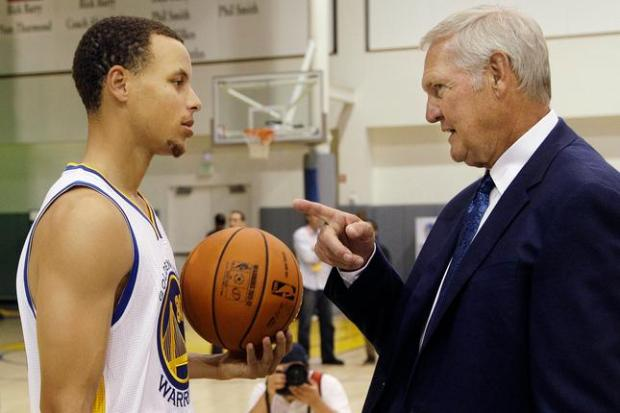 Golden State Warriors' Stephen Curry, left, talks with executive board member Jerry West during their NBA basketball media day at the team's training facility in Oakland, Calif., Monday, Oct. 1, 2012. (AP Photo/Jeff Chiu)