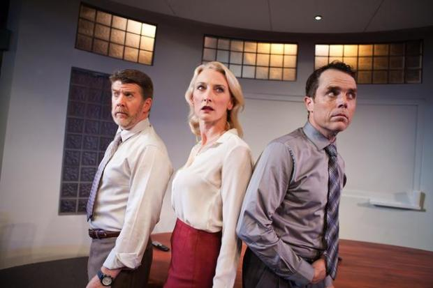 "JESSICA PALOPOLI/SAN FRANCISCO PLAYHOUSEMichael Ray Wisely, from left, Carrie Paff and Mark Anderson Phillips play corporate bigwigs who begin to suspect a top-secret project could pose real danger in ""Ideation,"" Aaron Loeb's dark comedy playing at San Francisco Playhouse through Nov. 9."