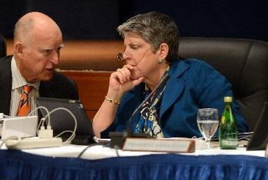 File photo: Gov. Jerry Brown and UC President Janet Napolitano chat during a UC board of regents meeting in San Francisco, Calif. on Wednesday, March 18, 2015. Brown and Napolitano have formed a Select Committee on the Cost Structure of the University and have since met twice to consider proposals to cut costs while improving quality. (Kristopher Skinner/Bay Area News Group)