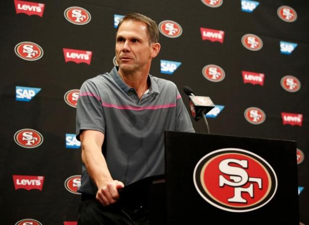Trent Baalke, 49ers General Manager, speaks before Patrick Willis announces his retirement from the 49ers during a press conference at Levi's Stadium in Santa Clara, Calif., on Tuesday, March 10, 2015. Willis is a six-time All-Pro and seven-time Pro Bowl selection as a linebacker. He spent his entire eight year NFL career with the 49ers. (Gary Reyes/Bay Area News Group)