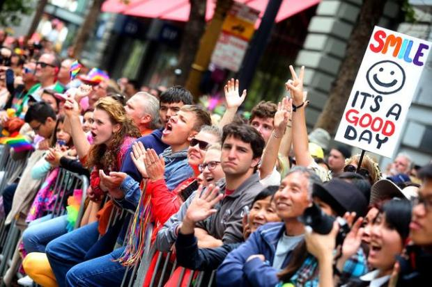 A large crowd gathers along Market Street during the 45th annual San Francisco Pride Celebration and Parade on Sunday, June 28, 2015, in San Francisco, Calif. (Aric Crabb/Bay Area News Group)