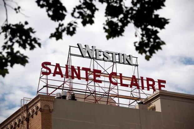 The downtown Hotel Sainte Claire finally has been re-branded as the Westin San Jose, nearly three years after announcing the change. (Karl Mondon/Staff)