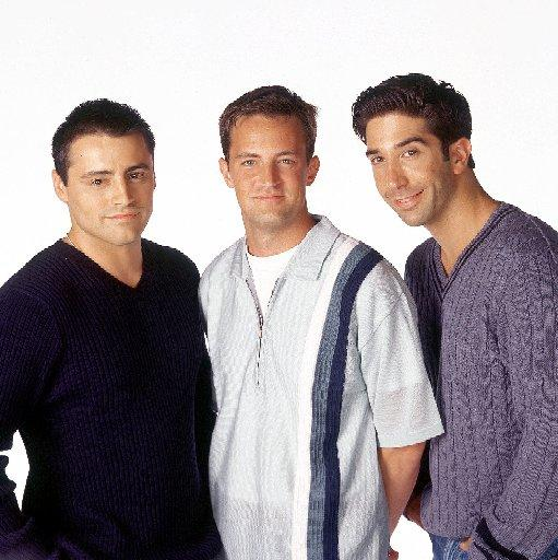 Friends castmates Matt LeBlanc as Joey Tribbiani, Matthew Perry as Chandler Bing, and David Schwimmer as Ross Geller.