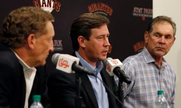 San Francisco Giants CEO and president Larry Baer,  senior vice president and general manager Bobby Evans and field manager Bruce Bochy speak at a year-end press conference, Monday afternoon, Oct. 5, 2015, at AT&T Park in San Francisco, Calif. (Karl Mondon/Bay Area News Group)