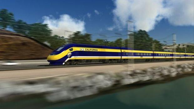 An artist's conceptual design for high-speed trains just south of San Francisco, California. Please credit NC3D. From California High Speed Rail web site.