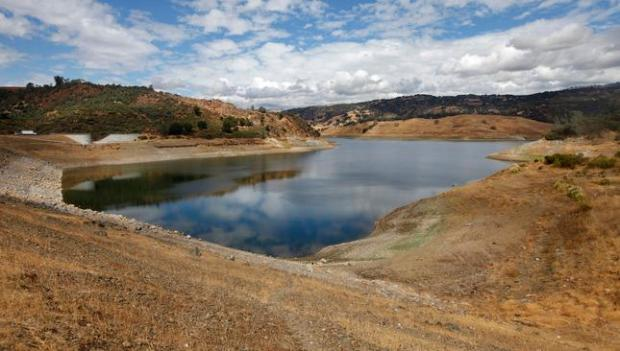 The water level is low at Anderson Reservoir in Morgan Hill on Oct. 1, 2015.