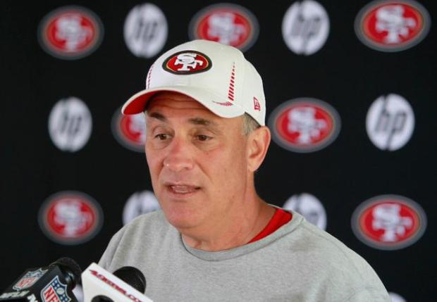 """Vic"" Fangio, defensive coordinator, talks with the media during the 49ers training camp at the niners training facility in Santa Clara Friday, July 26, 2013. (Patrick Tehan/Bay Area News Group)"