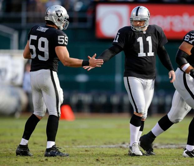 Oakland Raiders' Sebastian Janikowski (11) high-fives Oakland Raiders' Jon Condo (59) after he made a field goal against the Cleveland Browns in the second quarter in the O.Co Coliseum in Oakland, Calif., on Sunday, Dec. 2, 2012. (Nhat V. Meyer/Staff)
