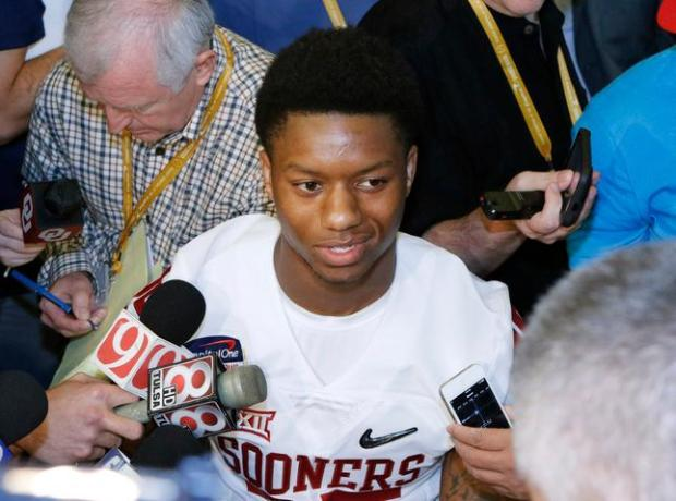 Oklahoma running back Joe Mixon speaks with reporters during the media day for the Orange Bowl at Sun Life Stadium Tuesday, Dec. 29, 2015, in Miami Gardens Fla. (AP Photo/Joe Skipper)