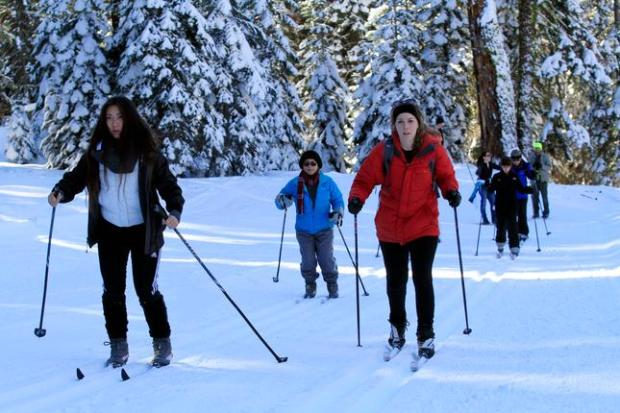 Cathy Ding from Riverside, left, and Brittany Finley from Long Beach practice traveling through powder on cross country skis during a beginning class at Badger Pass Ski Area in Yosemite National Park, Calif., on Wednesday, Dec. 30, 2015. (Laura A. Oda/Bay Area News Group)