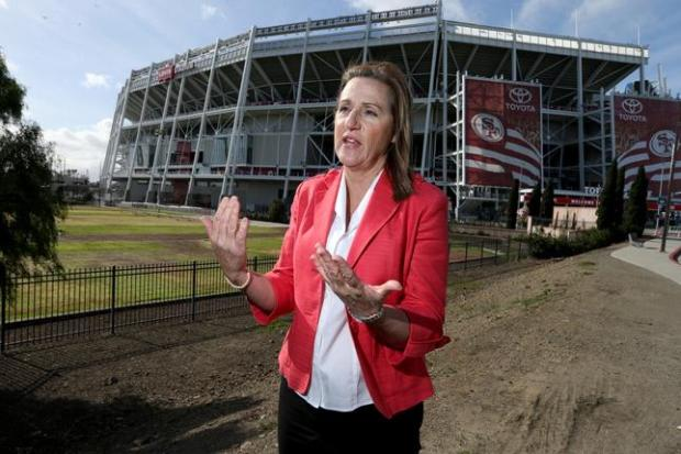 Mayor Lisa Gillmor near the Santa Clara Youth Soccer Park and Levi's Stadium, in Santa Clara, Calif., on Friday, Feb. 19, 2016.  (Anda Chu/Bay Area News Group)
