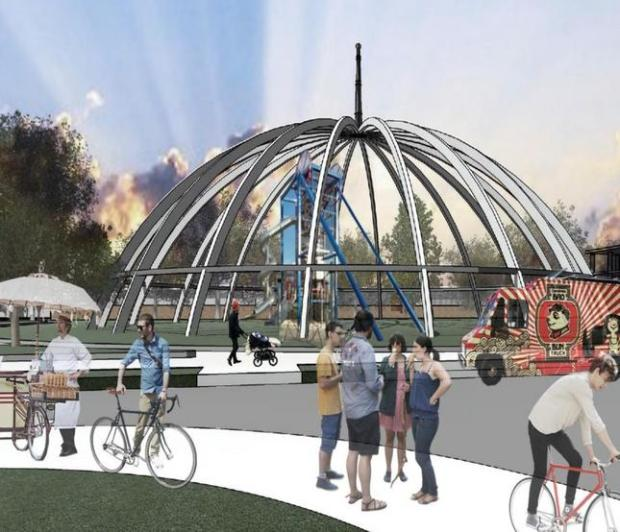 Artist's rendering depicts how the underlying structure of the Century 21 domed theater complex would be repurposed, essentially demolishing the structure but leaving intact the metal framework. (City of San Jose)