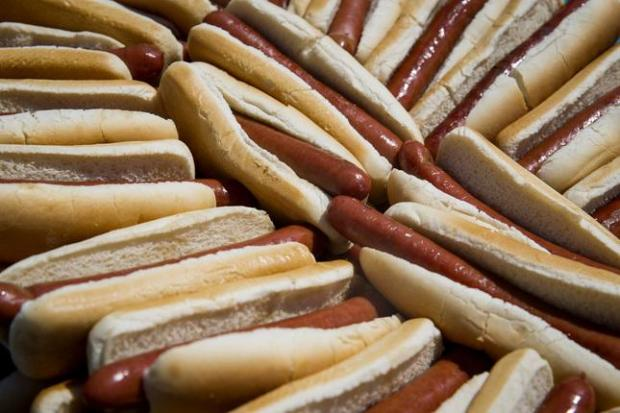 NEW YORK, NY - JULY 4: Hot dogs are seen before the annual Hot Dog Eating Contest at Coney Island July 4, 2016 in New York City. Joey Chestnut re-took the crown, eating 70 hot dogs and beating last year's winner Matt Stonie's 53 hot dogs consumed. (Photo by Eric Thayer/Getty Images)