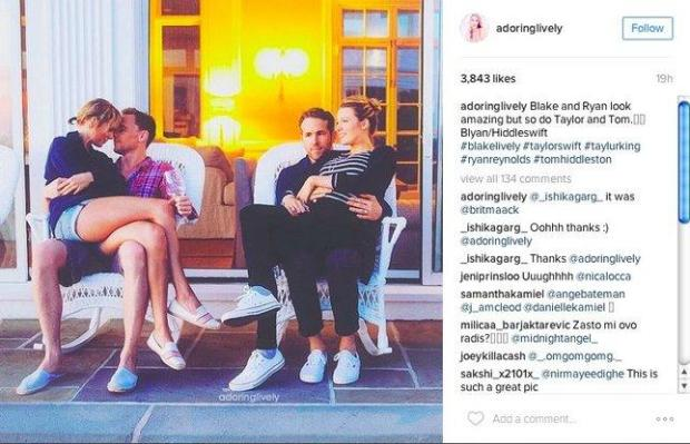 *Taylor Swift and Tom Hiddleston, with Ryan Reynolds and Blake Lively,cuddling on July 4 (Screen shot from the adoringlively Instagram account) *