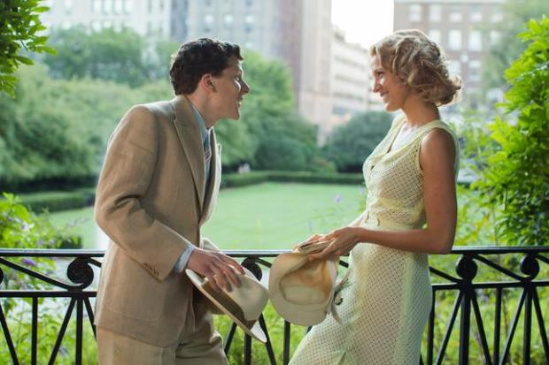 "In this image released by Lionsgate, Jesse Eisenberg, left, and Blake Lively appear in a scene from ""Cafe Society."" (Sabrina Lantos/Lionsgate via AP)"