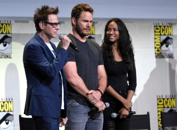 "Director James Gunn, from left, Chris Pratt and Zoe Saldana attend the ""Guardians of the Galaxy Vol. 2"" panel on day 3 of Comic-Con International on Saturday, July 23, 2016, in San Diego. (Photo by Chris Pizzello/Invision/AP)"