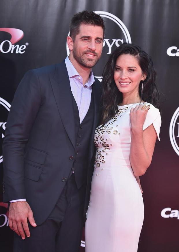 LOS ANGELES, CA - JULY 13: Football player Aaron Rodgers and actress Olivia Munn attend the 2016 ESPYS at Microsoft Theater on July 13, 2016 in Los Angeles, California. (Photo by Alberto E. Rodriguez/Getty Images)