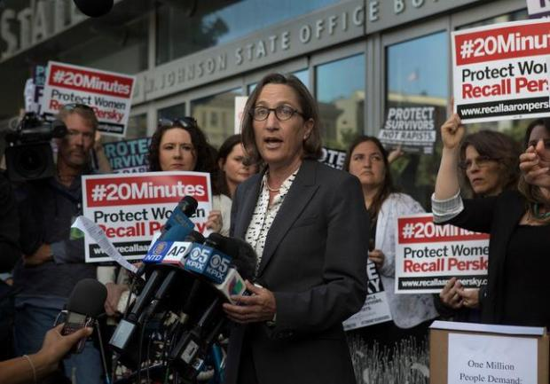 Stanford law professor Michele Dauber addresses the media as activists from UltraViolet deliver nearly one million signatures to the California Commission on Judicial Performance in San Francisco, Calif., Friday, June 10, 2016. (Patrick Tehan/Bay Area News Group)