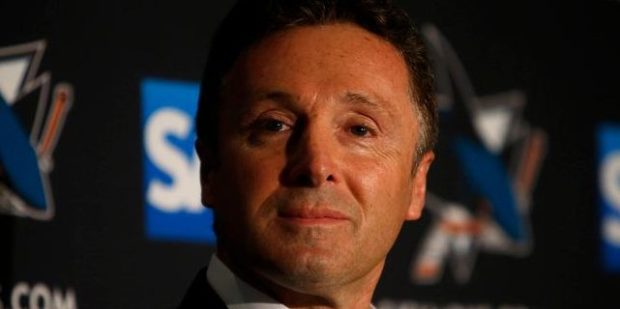 San Jose Sharks general manager Doug Wilson listens during a press conference announcing the retirement of goaltender Evgeni Nabokov at the SAP Pavilion in San Jose, Calif., on Wednesday, Feb. 11, 2015. (Nhat V. Meyer/Bay Area News Group)