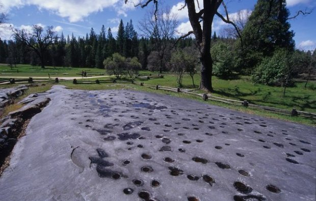 The massive marbleized limestone formations at Grinding Rock State Historic Park boast 1,185 mortar holes adorned with intricate carvings. (California State Parks photo)