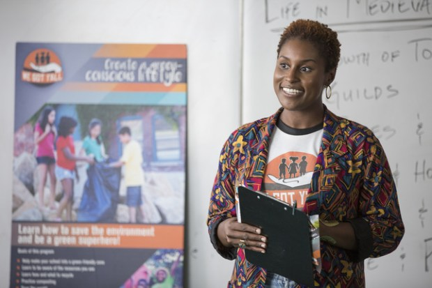 "This image released by HBO shows Issa Rae in a scene from ""Insecure,"" premiering on Oct. 9. (John P. Fleenor/HBO via AP)"