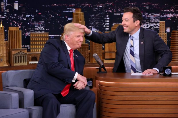 "This handout photo provided by NBC THE TONIGHT SHOW shows Republican Presidential Candidate Donald Trump (L) during an interview with host Jimmy Fallon in New York on September 15, 2016. / AFP PHOTO / Episodic / Andrew Lipovsky / RESTRICTED TO EDITORIAL USE - MANDATORY CREDIT ""AFP PHOTO / NBC / Andrew Lipovsky"" -NO SALES, NO ARCHIVING, NO MARKETING, NO ADVERTISING CAMPAIGNS - DISTRIBUTED AS A SERVICE TO CLIENTS ANDREW LIPOVSKY/AFP/Getty Images"