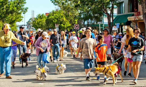Marchers in the 2015 Burlingame Pet Parade. (Courtesy of the Burlingame Pet Parade)