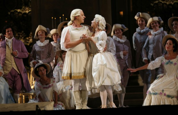 "Michael Levine plays the Shepherd, left, and Laura Alexich is the Shepherdess and as they perform a dance during a dress rehearsal of Umberto Giordano's French Revolution-themed opera ""Andrea ChŽnier"" at the War Memorial Opera House in San Francisco, Calif., on Tuesday, Sept. 6, 2016. The production opens on Sept. 9. (Jane Tyska/Bay Area News Group)"