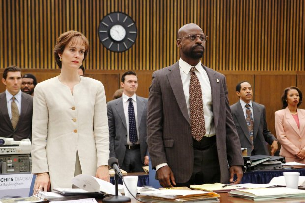 """In this image released by FX, Sarah Paulson portrays Marcia Clark, left, and Sterling K. Brown portrays Christopher Darden in a scene from """"The People v O.J. Simpson: American Crime Story."""" On Thursday, July 14, 2016, Brown was nominated for outstanding supporting actor in a limited series or movie for his role. The 68th Primetime Emmy Awards will be broadcast live on ABC beginning at 8 p.m. ET on ABC. (Ray Mickshaw/FX via AP)"""