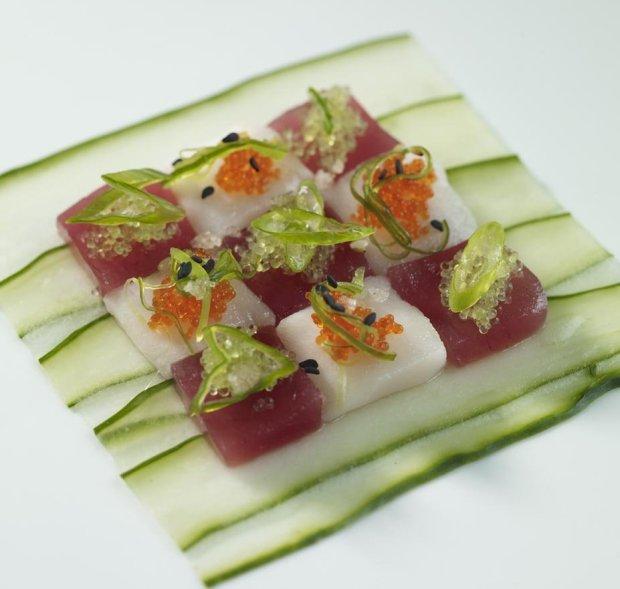 The jewellike poke at Koa Kea's stylish Red Salt restaurant includes ahi and ono. (Koa Kea Hotel)