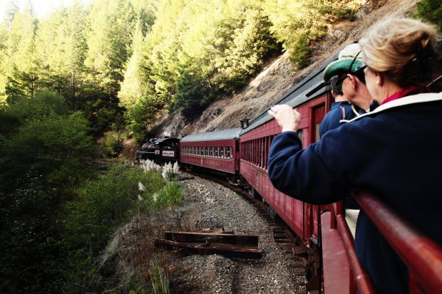These days, the beautifully restored Skunk Train takes tourists through the forests, but 130 years ago, the train was used to ferry felled redwood trees to 19th century lumber mills. (Photo: VisitMendocino)