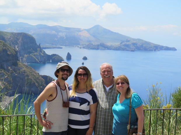 ITALY: Redwood City residents Charlie and Robin Carter celebrated their 40th anniversary with their son, Aaron, and Heloisa Arantes with a trip through Sicily and Lipari. (Courtesy of the Carter Family)