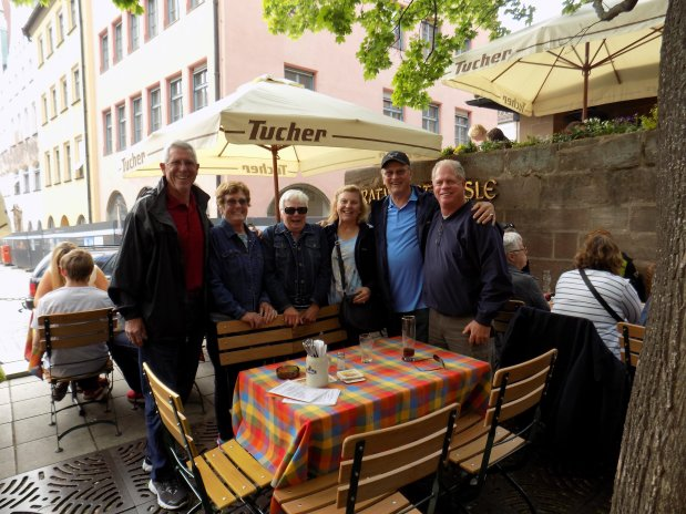 Photo courtesy of the Roanhaus family GERMANY: A chance meeting in Nuremberg reunited Bay Area friends, from left, Greg Piers, Dea Roanhaus, Barb Piers, Kelly Drew, Mike Roanhaus and Jack Drew.