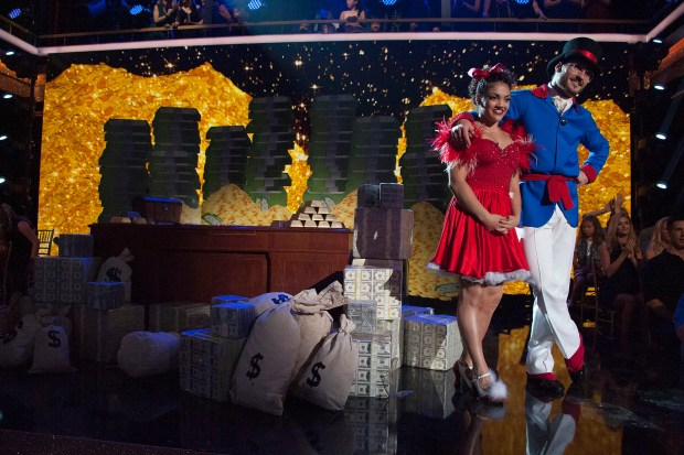 """DANCING WITH THE STARS - """"Episode 2302"""" - The 13 celebrities get ready to dance to some of their favorite TV theme songs as TV Night comes to """"Dancing with the Stars,"""" live, MONDAY, SEPTEMBER 19 (8:00-10:01 p.m. EDT), on the ABC Television Network. (ABC/Eric McCandless) LAURIE HERNANDEZ, VALENTIN CHMERKOVSKIY"""