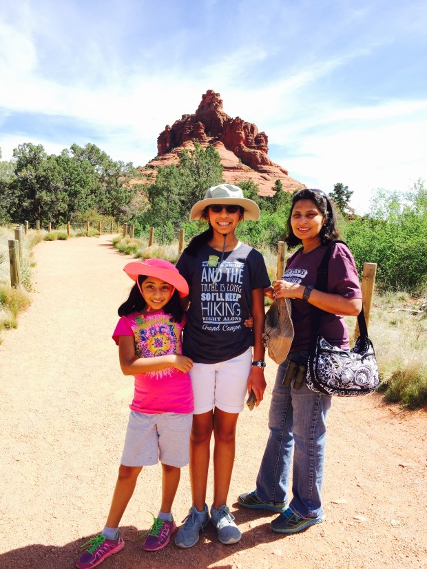 San Jose residents Sameer Goyal (behind the camera), Smita Dugar and their kids, Raina, left, and Indrea toured Arizona on a spring break trip. (Photo courtesy of the Goyal family)