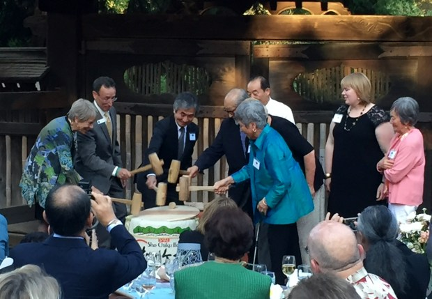 Hakone Gardens' Centennial Gala dinner was opened with a Kagami-Biraki, the traditional breaking of a sake barrel, on Sunday, Sept. 18, 2016. (Sal Pizarro/Bay Area News Group)