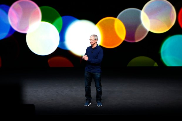 Apple CEO, Tim Cook, makes his entrance during the product launch of the iPhone 7 at the Bill Graham Civic Auditorium in San Francisco, Calif., on Wednesday, Sept. 7, 2016. (Photo by Gary Reyes/Bay Area News Group)