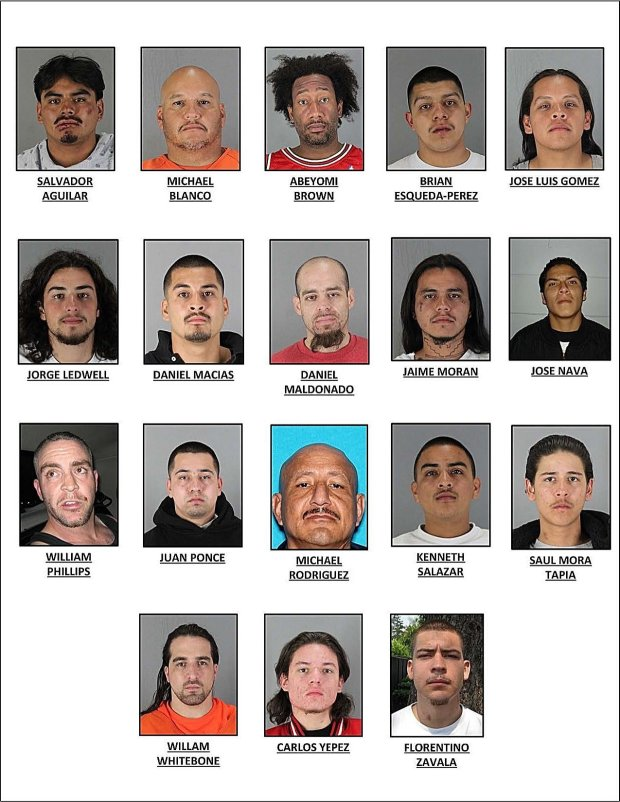 The 18 men pictured here were recently indicted by a San Mateo County Grand Jury in connection with a gang-related assault at the Maguire Correctional Facility in Redwood City on Oct. 21, 2015.