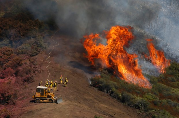 Firefighters man a fire line as they work to control the Loma Fire in the Santa Cruz Mountains, 11 miles west of Morgan Hill, Calif., Tuesday, Sept. 27, 2016. The wildfire, with flames ten stories high, doubled in size overnight, burning as many as 2,000 acres in the Santa Cruz Mountains by Tuesday morning, destroying two structures and forcing hundreds to flee the area while crews from as far away as Napa rushed to contain the blaze. (Patrick Tehan/Bay Area News Group)