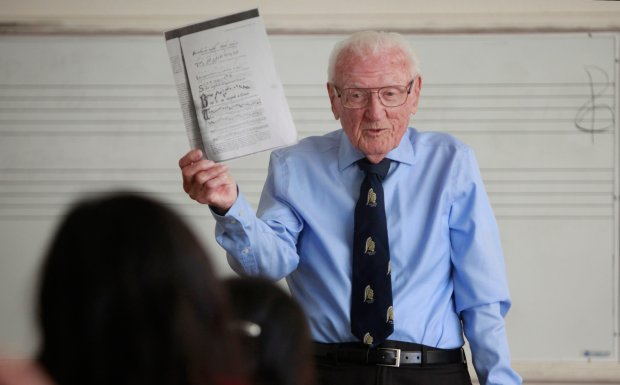 Professor Gus Lease, 92, speaks to his class on first day of his 66th year teaching music at San Jose State University, on Monday afternoon, Aug. 24, 2015, in San Jose, Calif. (Karl Mondon/Bay Area News Group)