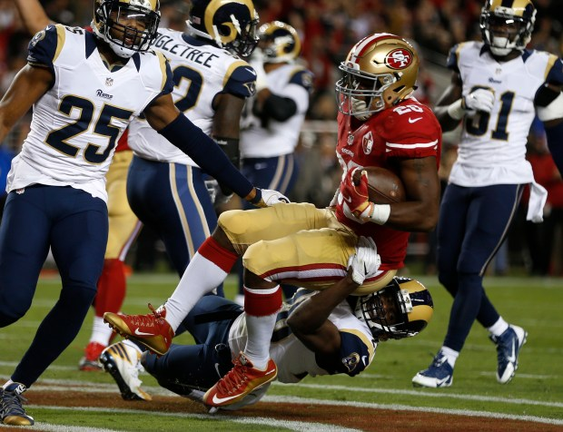 Carlos Hyde ran for two touchdown in last season's opening win over the Los Angeles Rams. (Nhat V. Meyer/Bay Area News Group)