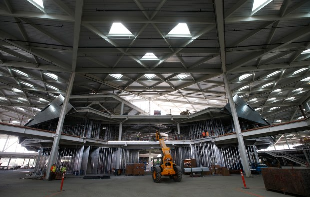 Nvidia's new building, with its 246 triangular skylights, takes shape in Santa Clara, Calif., Tuesday, Aug. 23, 2016. (Karl Mondon/Bay Area News Group)