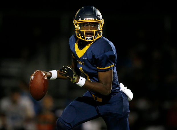 King's Academy starting quarterback Michael Johnson Jr. (1) looks to pass against Branham High School in the second quarter at The King's Academy in Sunnyvale, Calif., on Friday, Sept. 2, 2016. (Nhat V. Meyer/Bay Area News Group)
