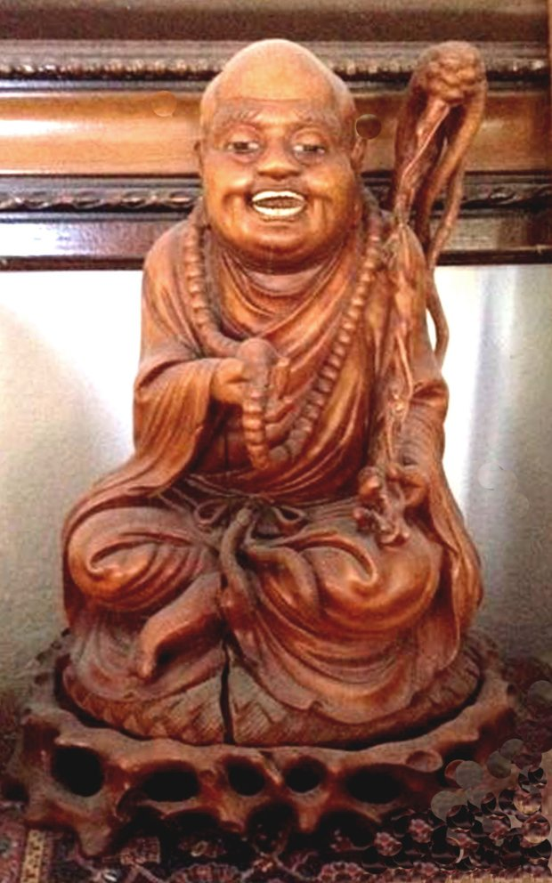 This carved effigy is probably not a Buddha but a Buddhist deity, who has completed the path to enlightenment and will not be reborn. (Jane Alexiadis)