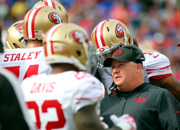 San Francisco 49ers head coach Chip Kelly talks to his players during the first half of an NFL football game against the Buffalo Bills, Sunday, Oct. 16, 2016, in Orchard Park, N.Y. (AP Photo/Bill Wippert)