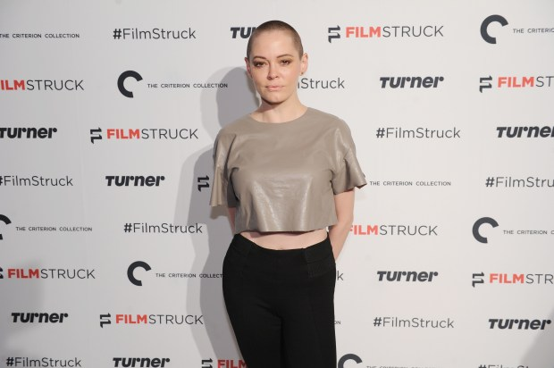 "NEW YORK, NY - OCTOBER 06: Actress Rose McGowan attends the ""Filmstruck"" launch event at 404 NYC on October 6, 2016 in New York City. (Photo by Craig Barritt/Getty Images for Turner)"