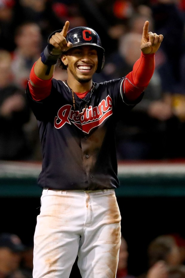 Francisco Lindor #12 of the Cleveland Indians celebrates after scoring a run during the first inning against the Chicago Cubs in Game One of the 2016 World Series at Progressive Field on October 25, 2016 in Cleveland, Ohio.  (Photo by Tim Bradbury/Getty Images)