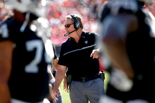 Head coach Jack Del Rio of the Oakland Raiders walks the sidelines during the third quarter of an NFL game against the Tampa Bay Buccaneers on October 30, 2016 at Raymond James Stadium in Tampa, Florida. (Photo by Brian Blanco/Getty Images)